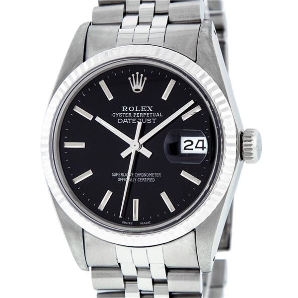 Rolex Mens Stainless Steel Black Index Oyster Perpetual Datejust Wristwatch