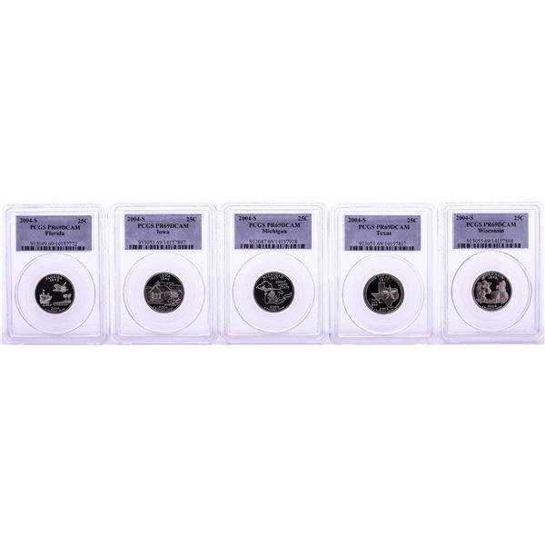 Set of (5) 2004-S Proof State Quarter Coins PCGS PR69DCAM