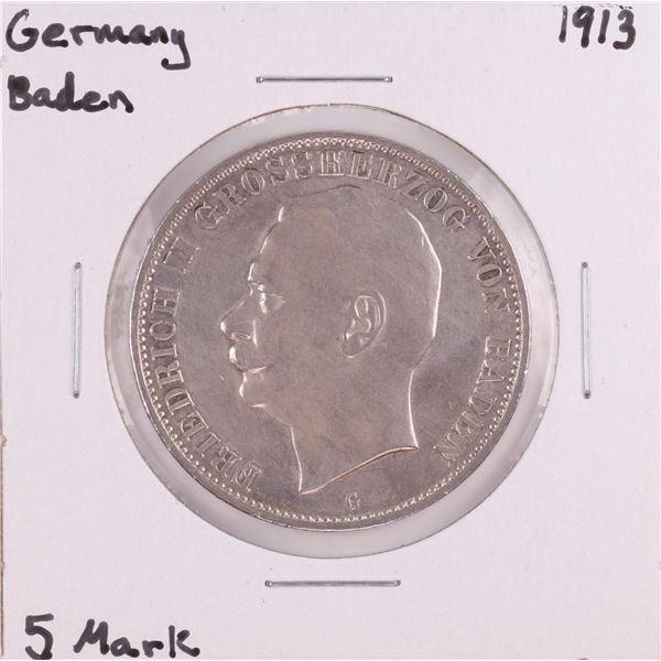 1913 Germany Baden 5 Mark Silver Coin