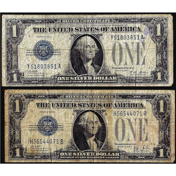 Lot of 1928A 1928B $1 Funnyback Silver Certificate Notes