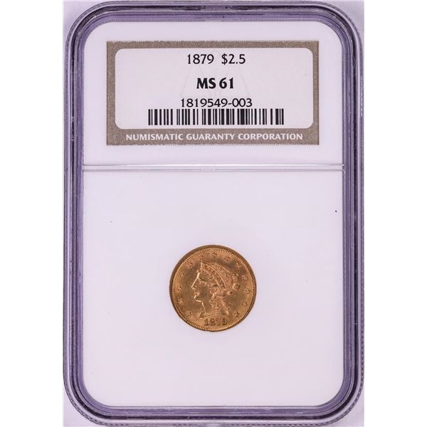 1879 $2 1/2 Liberty Head Quarter Eagle Gold Coin NGC MS61