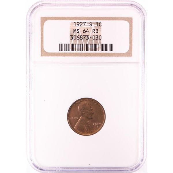 1927-S Lincoln Wheat Cent Coin NGC MS64RB