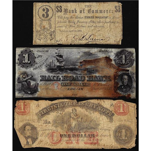 Lot of (3) Miscellaneous 1800's Obsolete Banknotes