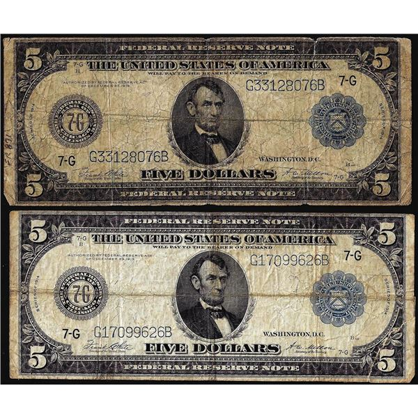 Lot of (2) 1914 $5 Federal Reserve Bank Notes Chicago