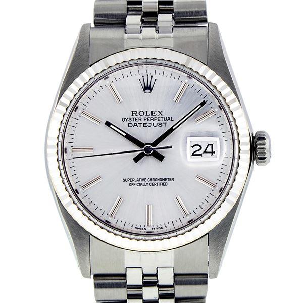 Rolex Mens Stainless Steel Slate Grey Index Datejust Wristwatch