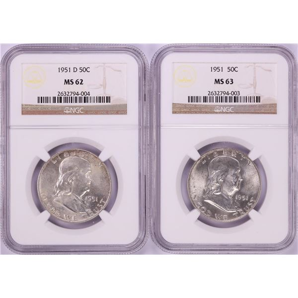 Lot of 1951 & 1951-D Franklin Half Dollar Coins NGC MS62/MS63