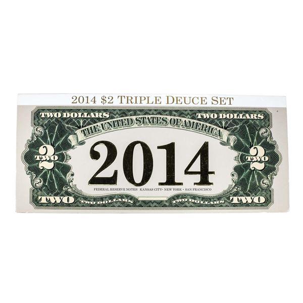 Matching Serial Number 2014 $2 Triple Deuce Federal Reserve Note Set