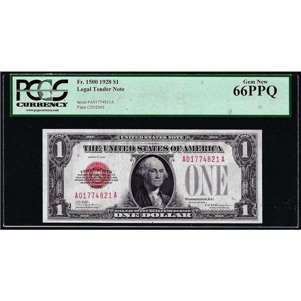 1928 $1 Legal Tender Note Fr.1500 PCGS Gem New 66PPQ