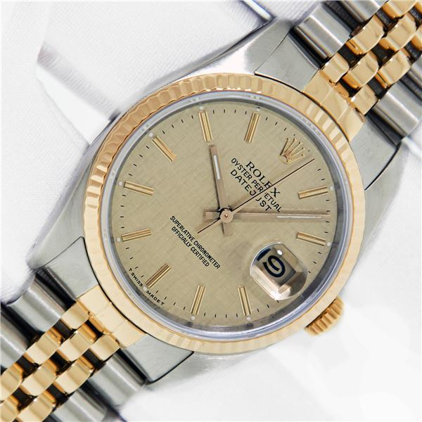 Rolex Mens Two Tone Champagne Linen Index Oyster Perpetual Datejust Wristwatch