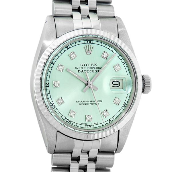 Rolex Mens Stainless Steel Ice Blue Diamond Oyster Perpetual Datejust Wristwatch
