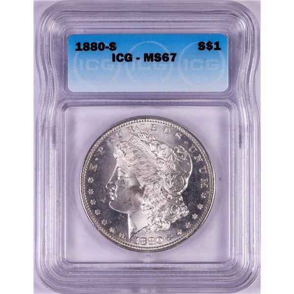 1880-S $1 Morgan Silver Dollar Coin ICG MS67