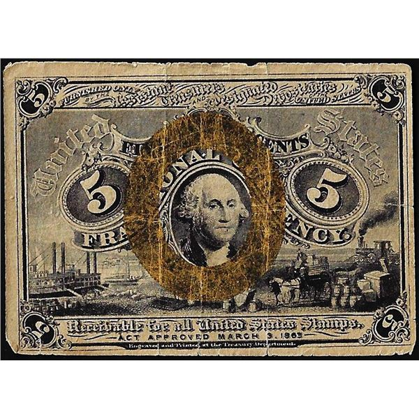 March 3, 1863 Second Issue Five Cents Fractional Currency Note