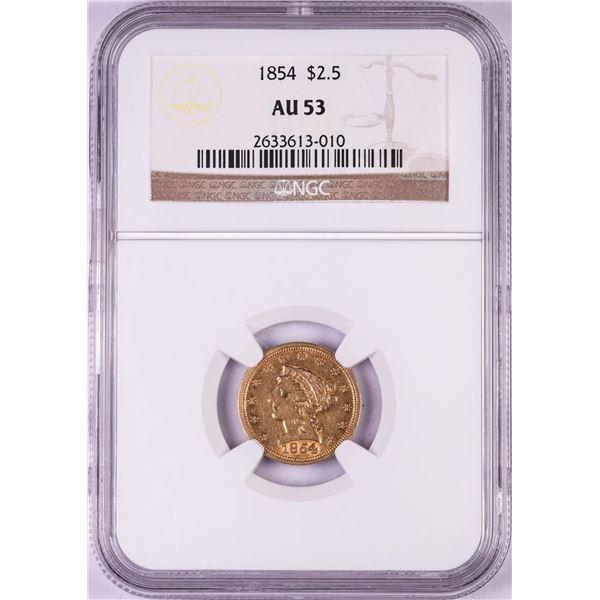 1854 $2 1/2 Liberty Head Quarter Eagle Gold Coin PCGS AU53