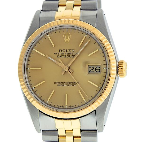 Rolex Mens Two Tone Champagne Index Oyster Perpetual Datejust Wristwatch