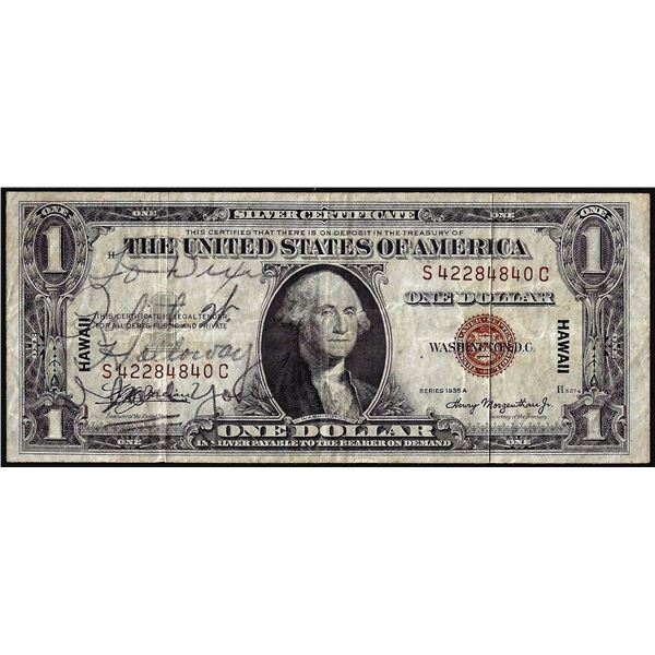 Short Snorter Signed 1935A $1 Hawaii WWII Emergency Silver Certificate Note