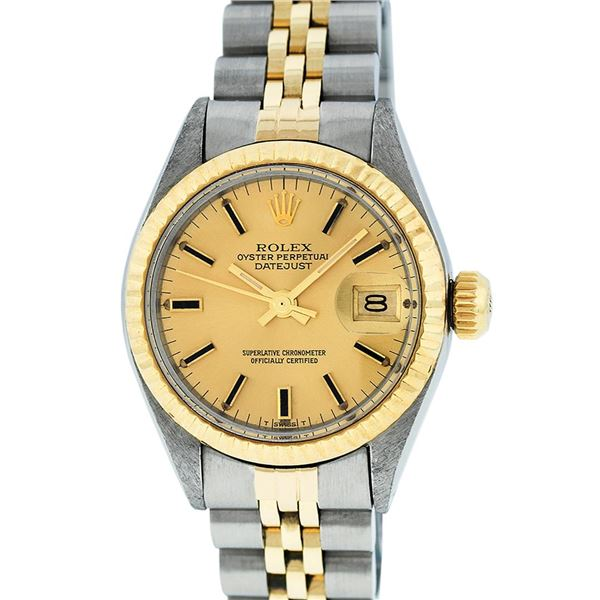 Rolex Ladies Two Tone Champagne Index Oyster Perpetual Datejust Wristwatch