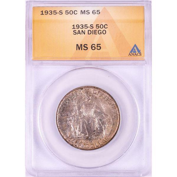 1935-S San Diego Commemorative Half Dollar Coin ANACS MS65