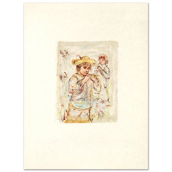 """Hibel (1917-2014) """"Boy With Horn"""" Limited Edition Lithograph On Rice Paper"""