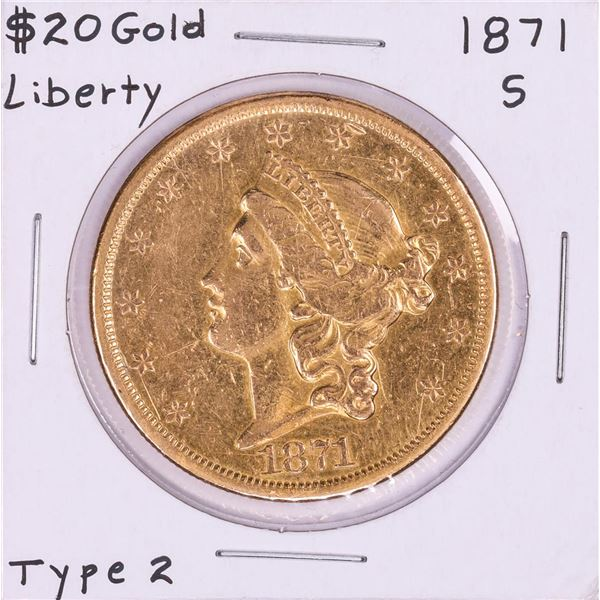 1871-S Type 1 $20 Liberty Head Double Eagle Gold Coin