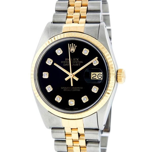 Rolex Mens Two Tone Black Diamond Oyster Perpetual Datejust Wristwatch