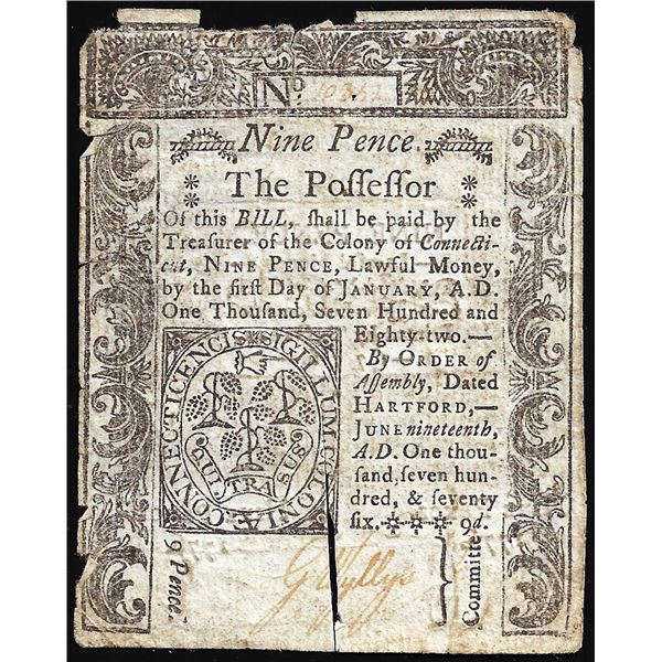 June 19, 1776 Connecticut Nine Pence Colonial Currency Note