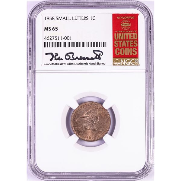 1858 Small Letters Flying Eagle Cent Coin NGC MS65 Kenneth Bressett Signature