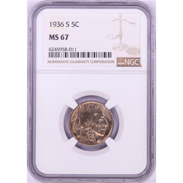 1936-S Buffalo Nickel Coin NGC MS67