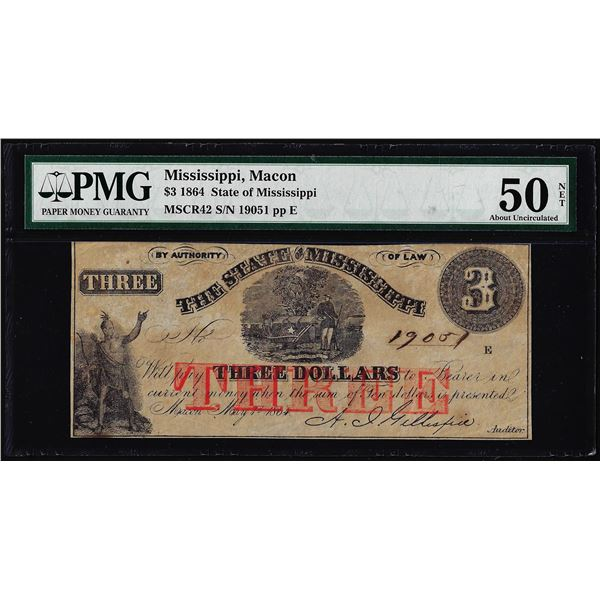 1864 $3 State of Mississippi Macon Obsolete Note PMG About Uncirculated 50 Net