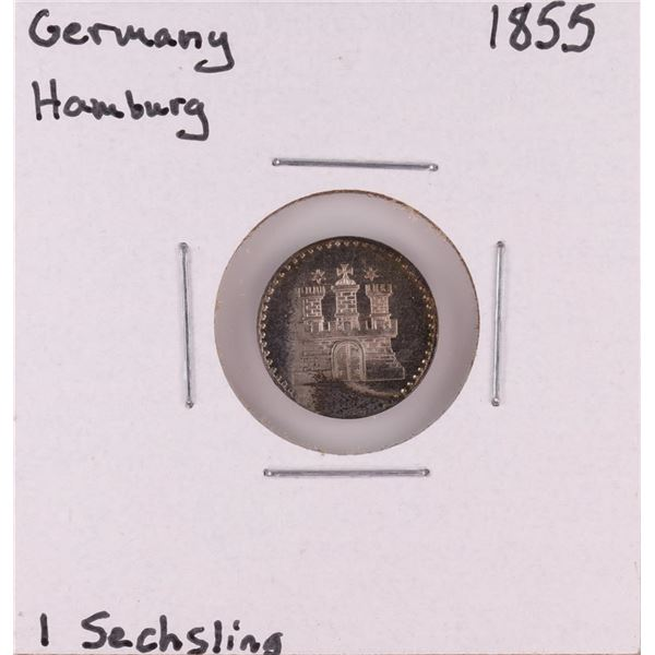 1855 Germany Hamburg 1 Sechsling Silver Coin