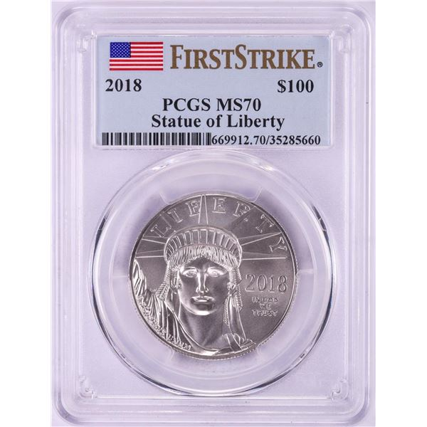 2018 $100 American Platinum Eagle Coin PCGS MS70 First Strike