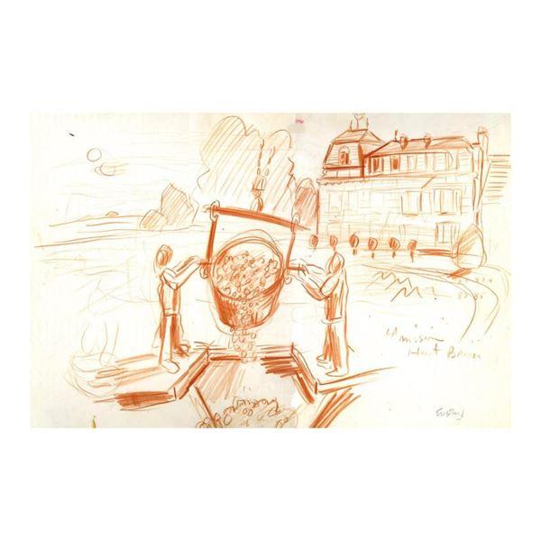"""Ensrud """"Harvest At La Mission Haut-Brion"""" Original Pastel On Paper"""