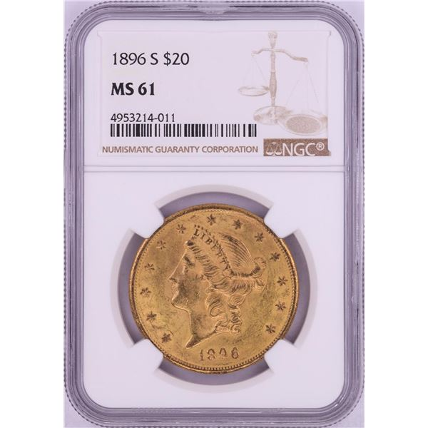 1896-S $20 Liberty Head Double Eagle Gold Coin NGC MS61