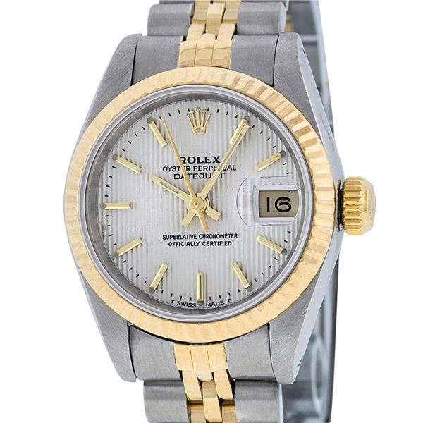 Rolex Ladies Two Tone Silver Index Tapestry Datejust Wristwatch
