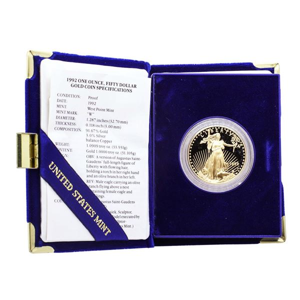 1992 $50 Proof American Gold Eagle Coin with Box & COA