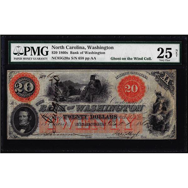 1860's $20 Bank of Washington North Carolina Obsolete Note PMG Very Fine 25 Net