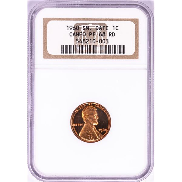 1960 Small Date Proof Lincoln Memorial Cent Coin NGC PF68RD Cameo
