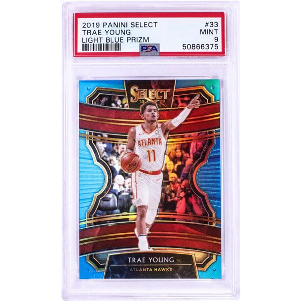 2019 Panini Select Light Blue Prizm Trae Young NBA Card #33 PSA Mint 9