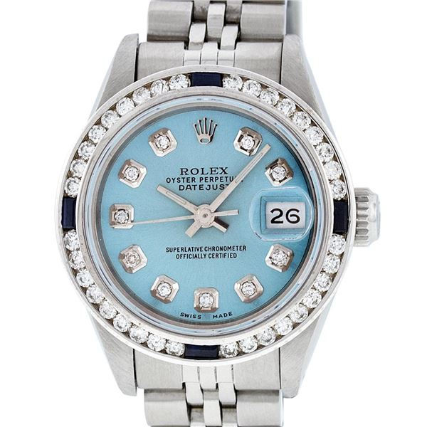 Rolex Ladies Stainless Steel Blue Diamond & Channel Set Sapphire Datejust Wristwatch
