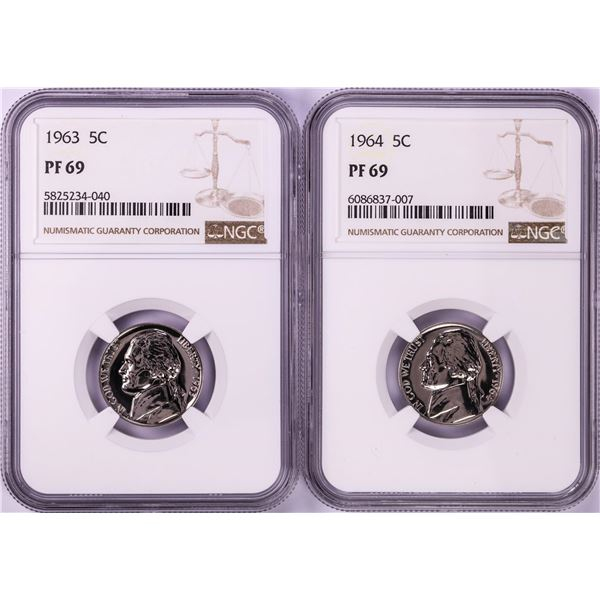Lot of 1963-1964 Proof Jefferson Nickel Coins NGC PF69