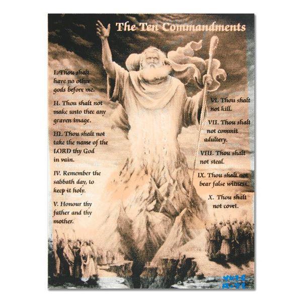 """Ringo Daniel Funes """"Ten Commandments"""" Original Mixed Media On Canvas"""