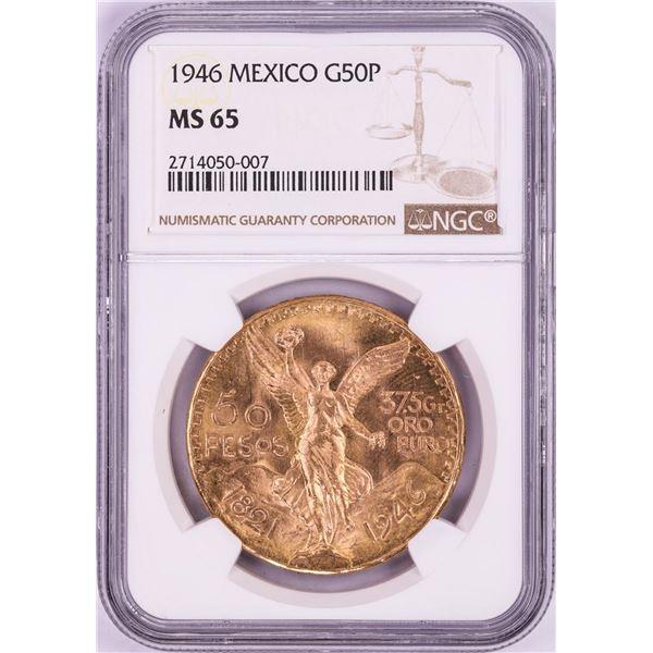 1946 Mexico 50 Pesos Gold Coin NGC MS65