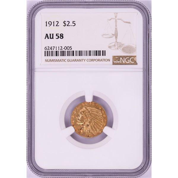 1912 $2 1/2 Indian Head Quarter Eagle Gold Coin NGC AU58