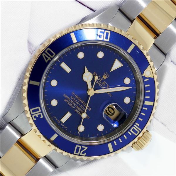Rolex Mens Two Tone 18K Yellow Gold And Stainless Submariner With Box