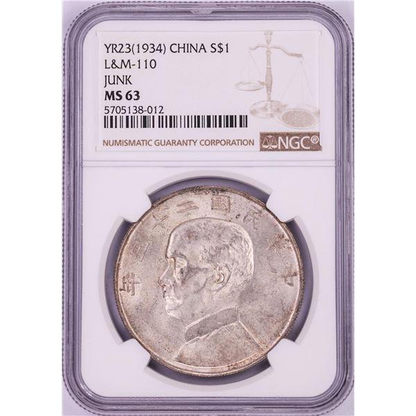 1934 China $1 Junk Silver Dollar Coin NGC MS63 L&M-110