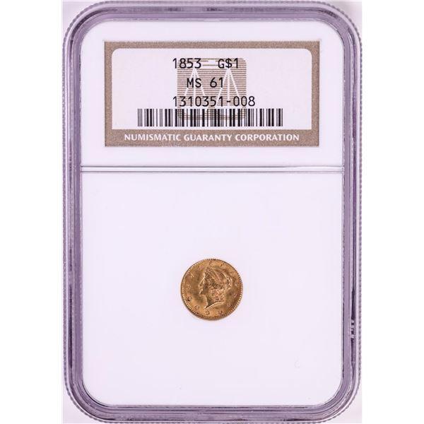 1853 $1 Liberty Head Gold Dollar Coin NGC MS61