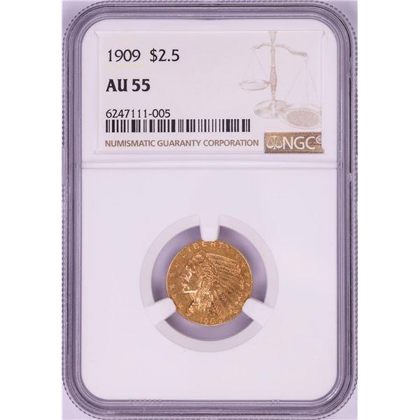 1909 $2 1/2 Indian Head Quarter Eagle Gold Coin NGC AU55