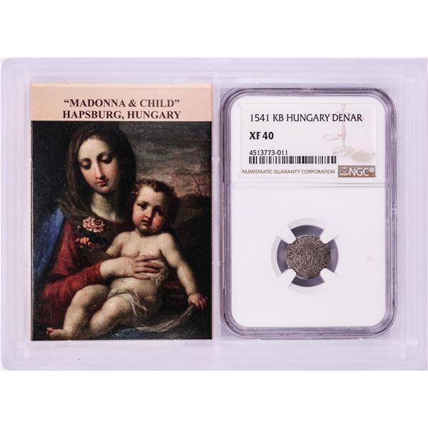 1541 KB Hungary Denar 'Madonna and Child' Coin NGC XF40 w/ Story Box
