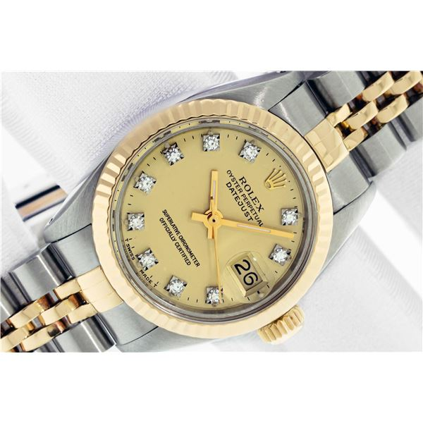 Rolex Ladies Two Tone Factory Champagne Diamond Dial Datejust with Box and Papers