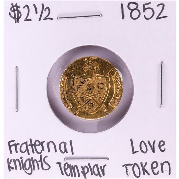 1852 $2 1/2 Liberty Head Quarter Eagle Gold Coin Fraternal Knights Love Token Pin