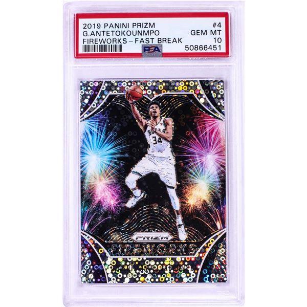 2019 Panini Prizm Fireworks Fast Break Giannis Antetokounmpo NBA Card #4 PSA Gem Mint 10